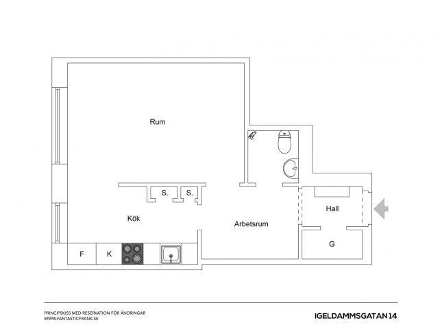 Kleine half open keuken van appartement van 38m2 interieur inrichting - Open keuken m ...