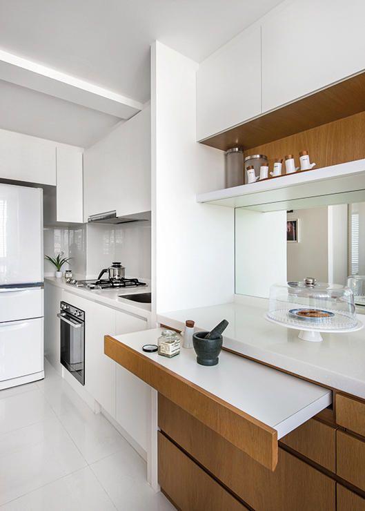 Kleine keuken inrichten uitschuifbaar werkblad