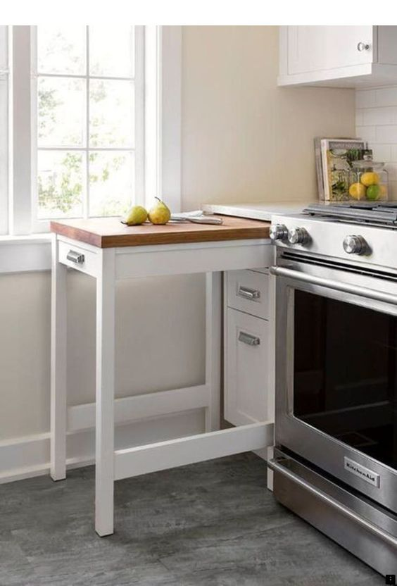 Kleine keuken inrichten uitschuifbare werktafel