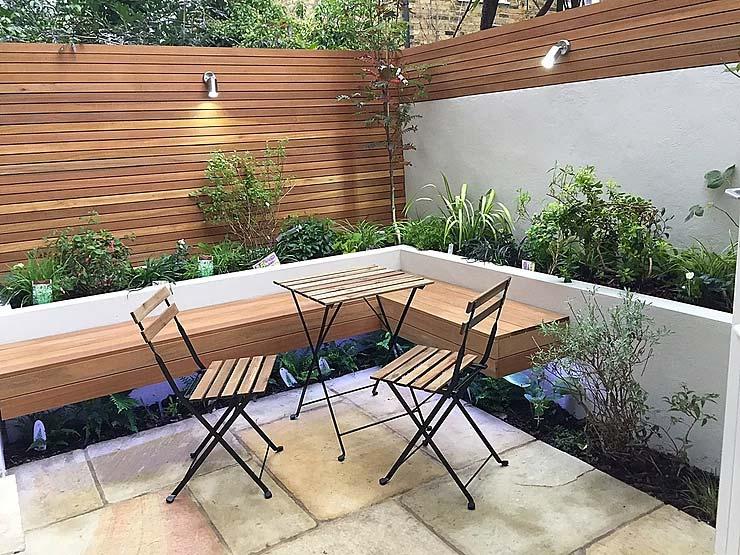 kleine tuin inspiratie vaste bank