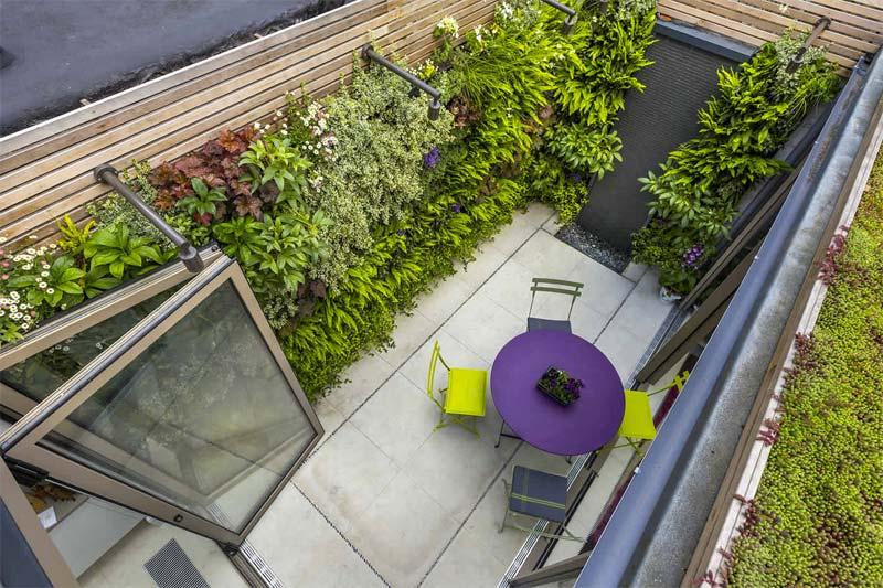 kleine tuin inspiratie verticale tuin patio tuin
