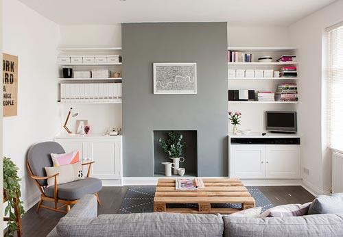 Kleine woonkamer inrichten met wit en grijs interieur inrichting