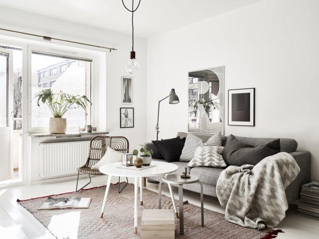 Kleine woonkamer in een klein scandinavisch appartement Inrichting kleine woonkamer