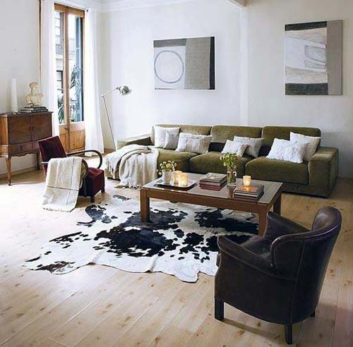 Leuke vloerkleed in de woonkamer interieur inrichting - Deco zwarte living ...
