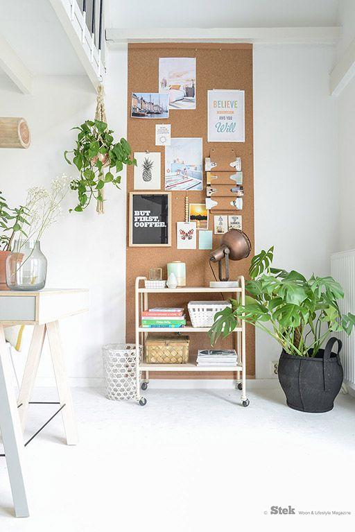 Kurk muur interieur inrichting - Deco woonkamer aan de muur wit ...