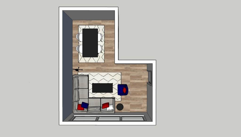 l-vormige woonkamer hoekbank