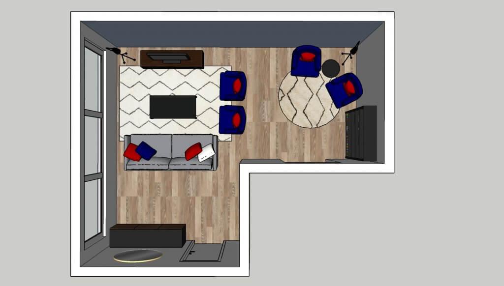 L-vormige woonkamer opstelling 1