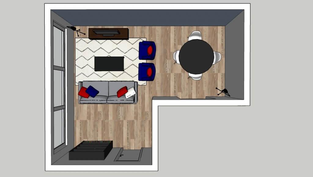 l-vormige woonkamer opstelling 2 eethoek
