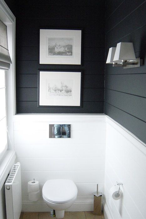 Lambrisering in het toilet interieur inrichting - Deco chique kamer ...