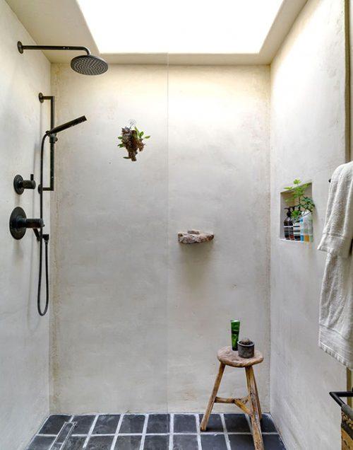 Landelijke badkamers voorbeelden natuurstenen vloer