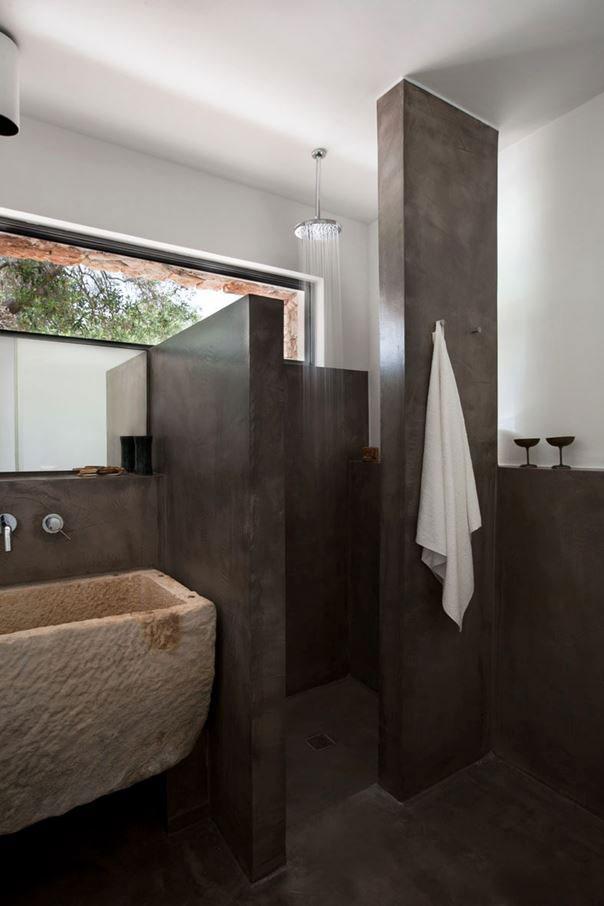 Landelijke badkamers voorbeelden stenen wastafel