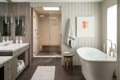 Landelijke badkamers voorbeelden vrijstaand bad