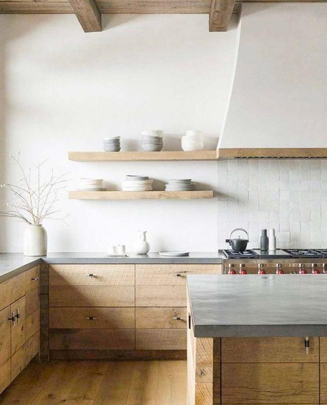 landelijke houten keuken betonnen aanrechtblad