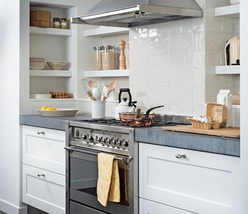 Landelijke keuken met betonnen keukenblad