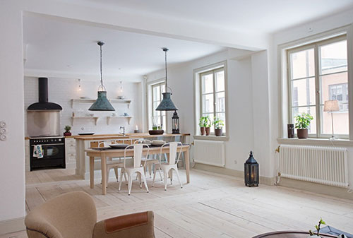 Scandinavische Design Keuken : Open Kitchen Design with Lots of Windows