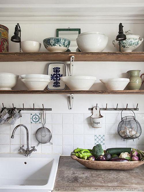 Afbeeldingen Keukeneilanden : Landelijke open keuken Interieur inrichting