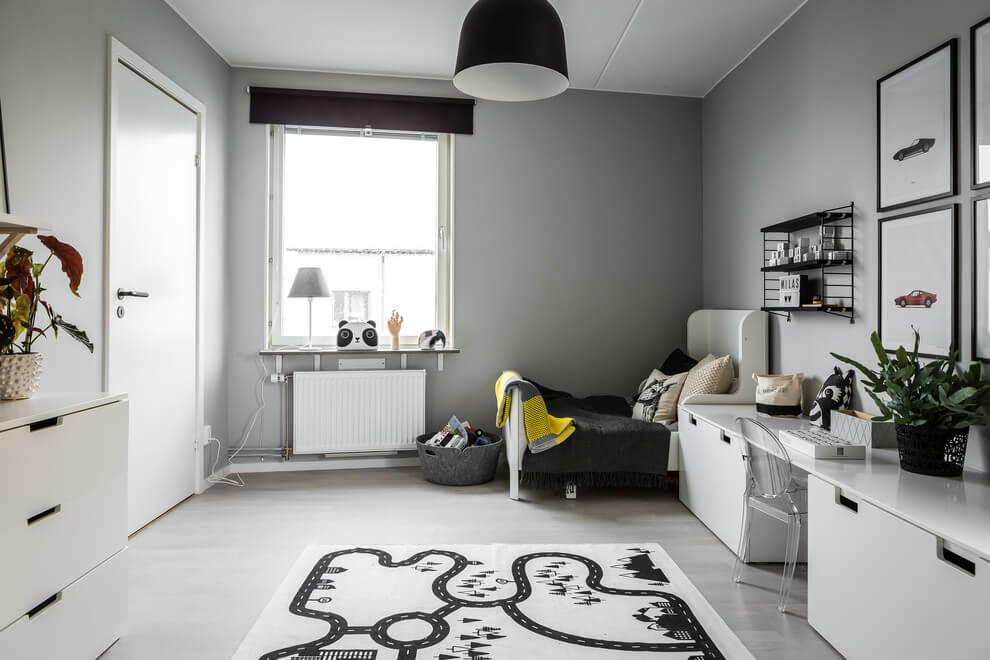 Leuke gedeelde kinderkamer in zwart, wit en grijs