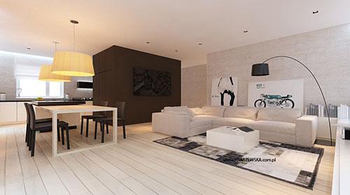 Voor de gehele woonkamer is er gekozen voor lichte kleuren. Wit, beige ...