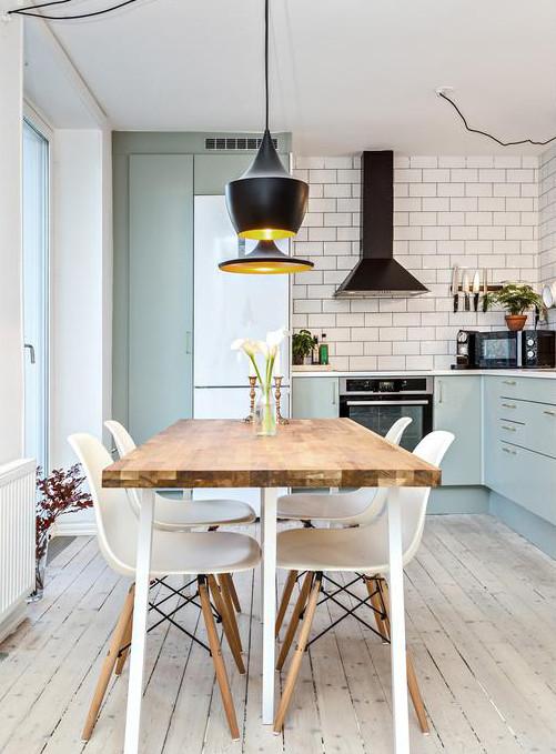 Lichtblauwe L-vorm keuken | Interieur inrichting