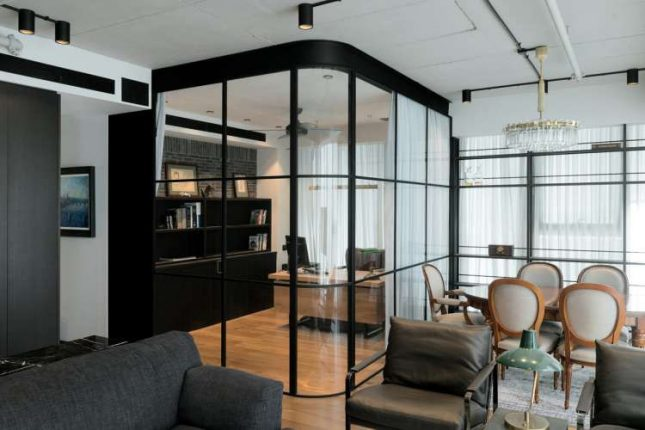 living inspiratie glazen wanden woonkamer thuiskantoor