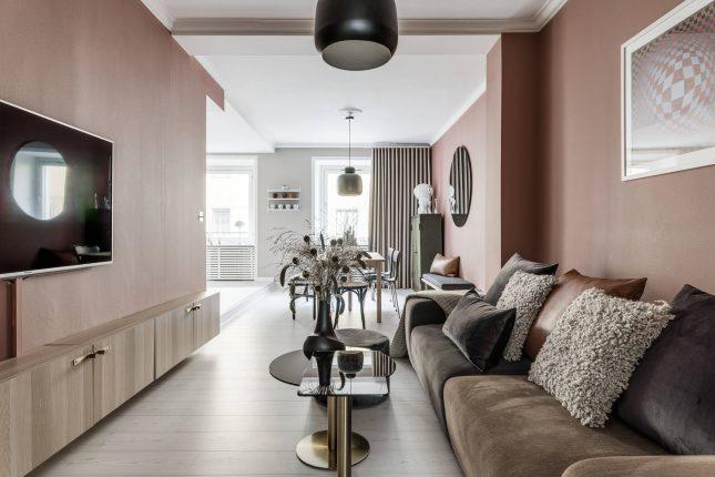 Living inspiratie knusse woonkamer oudroze muren