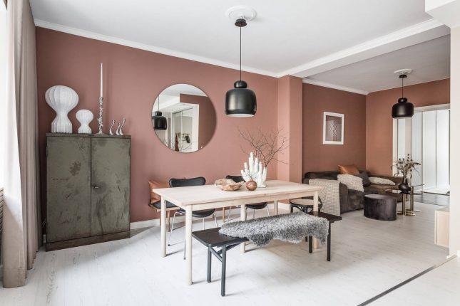 Living inspiratie - Scandinavische woonkamer met oudroze muren