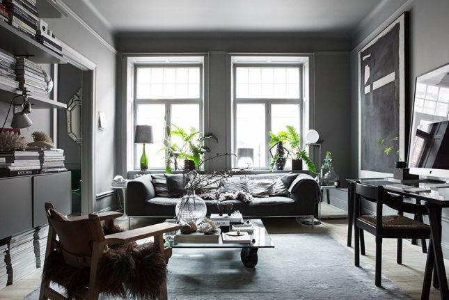 living inspiratie woonkamer donkergrijze muren