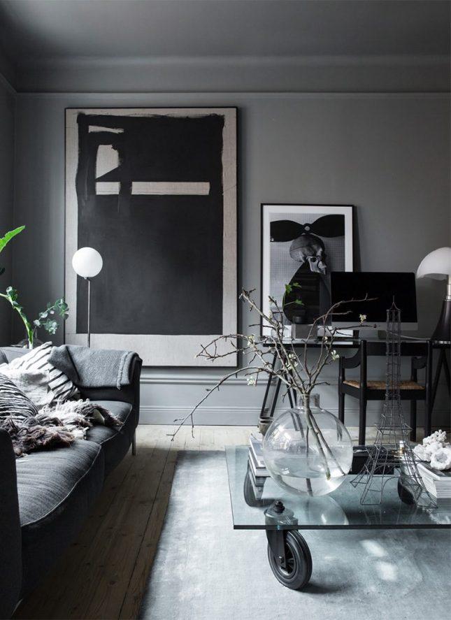 living inspiratie woonkamer grote lijsten aan de muur