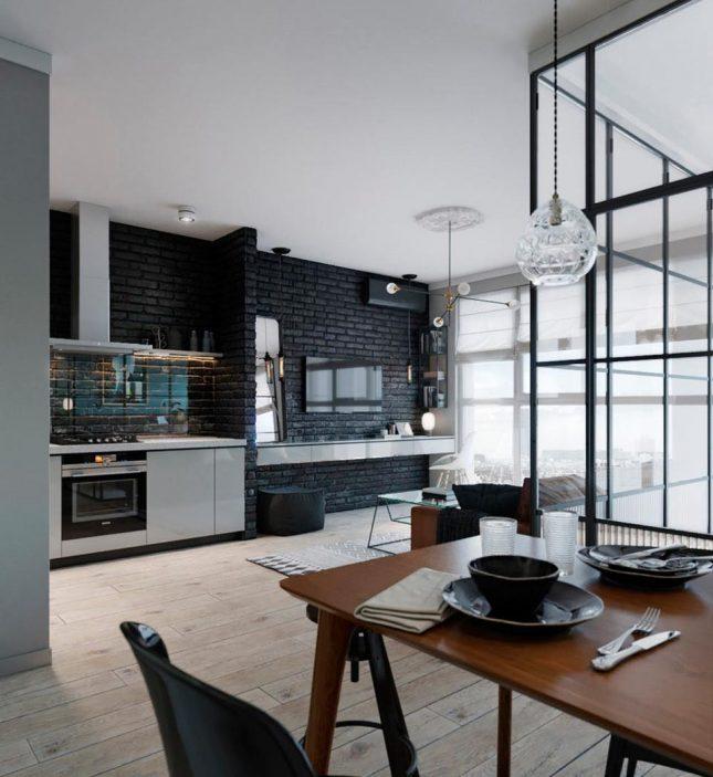 living inspiratie zwarte bakstenen muur woonkamer rvs zwevende tv meubel