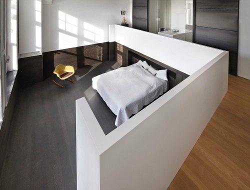 Loft slaapkamer in een Amsterdamse grachtenpand