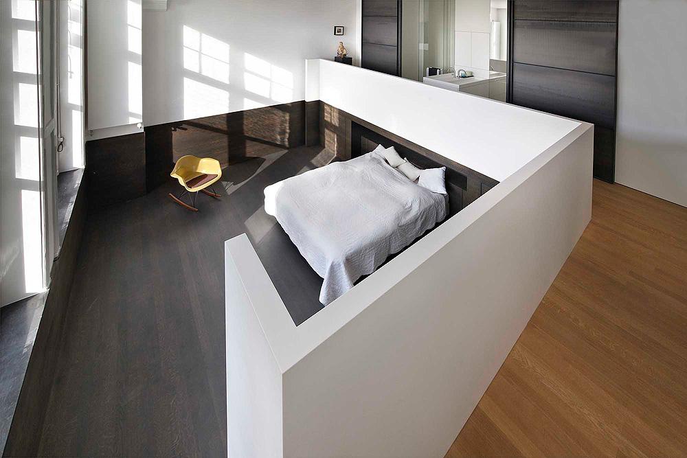 Loft slaapkamer in een Amsterdamse grachtenpand | Interieur inrichting
