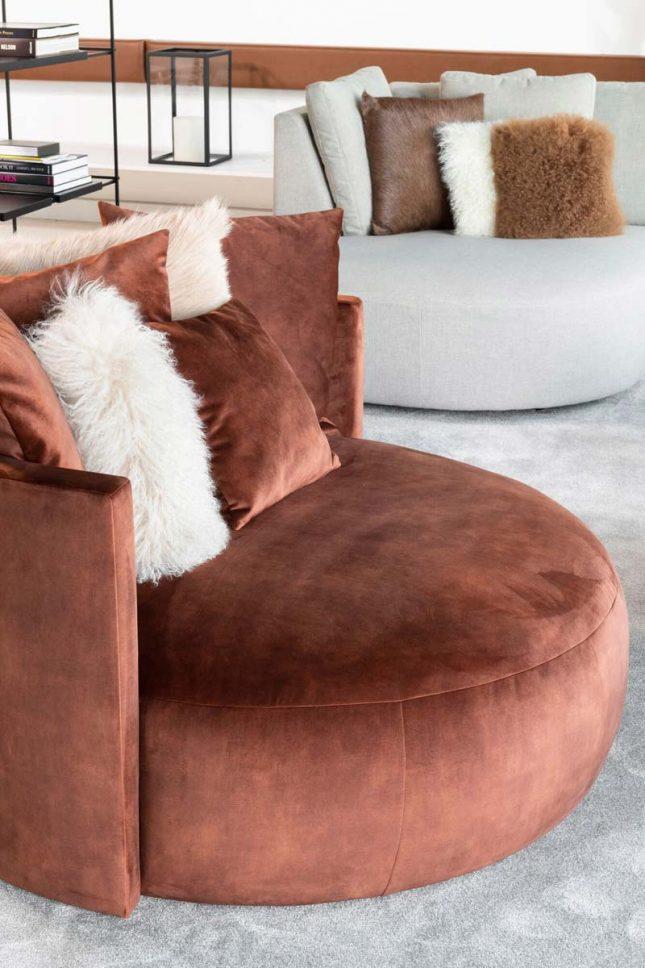 loods 5 ronde velvet fauteuil