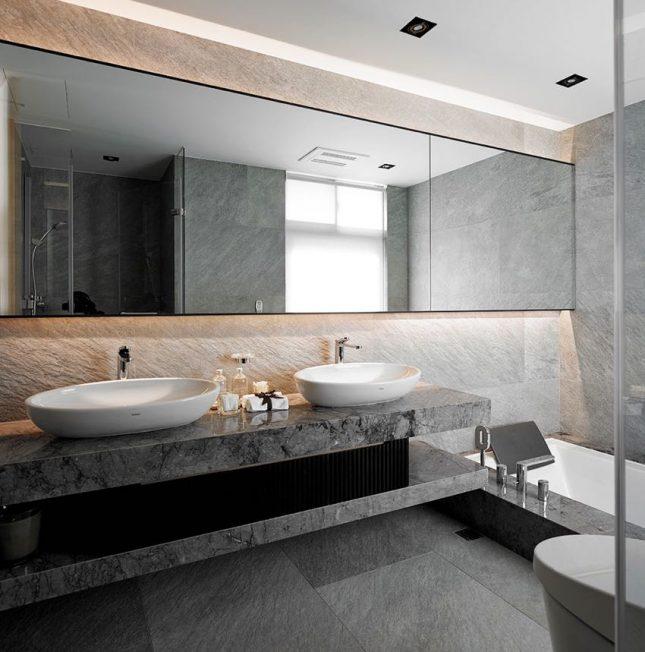Luxe badkamers voorbeelden grijs