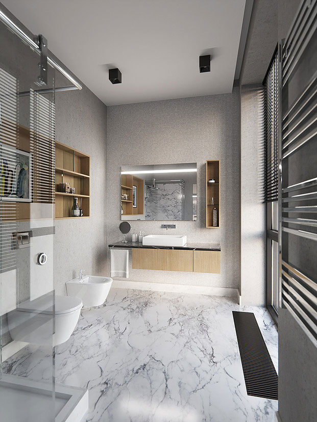 Luxe badkamers voorbeelden marmer mozaïek tegels