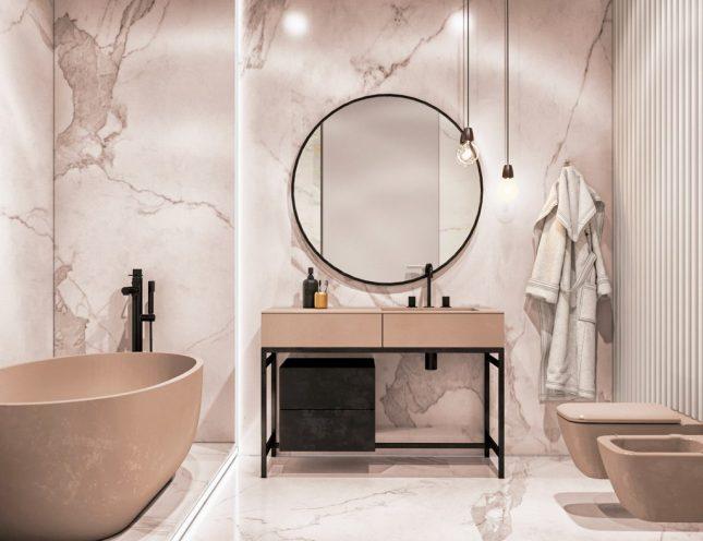 Luxe badkamers voorbeelden taupe marmer