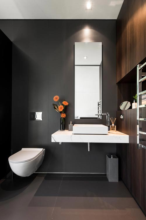 luxe toilet met eiken hout interieur inrichting. Black Bedroom Furniture Sets. Home Design Ideas