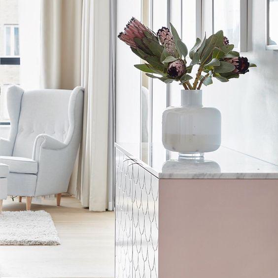 Marmeren blad op IKEA Besta kast