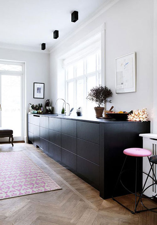 Keuken Zwart Mat : Pink and Black Kitchen Cabinets