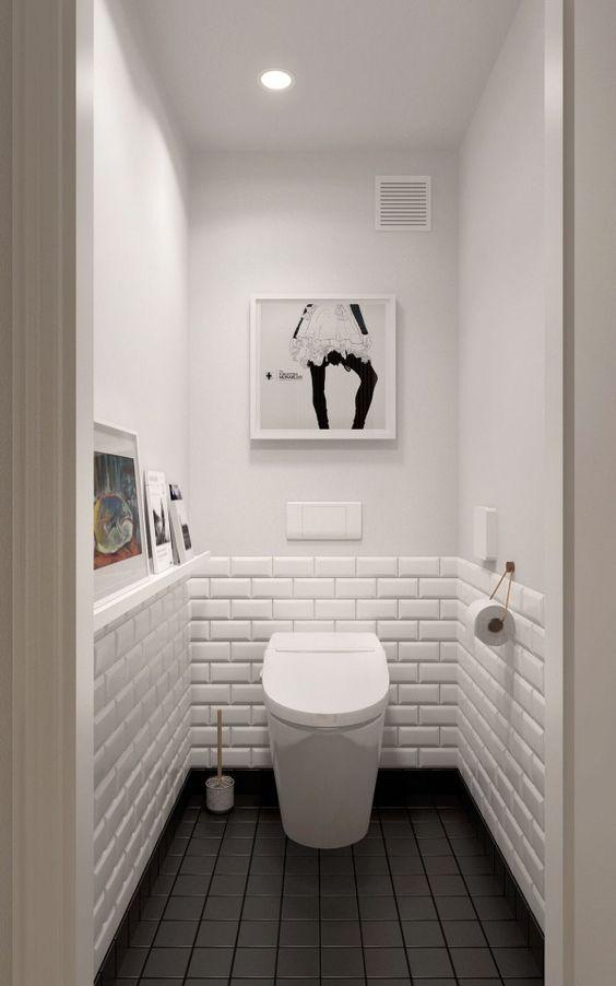 Metrotegels in het toilet interieur inrichting for Badkamer tegel metro