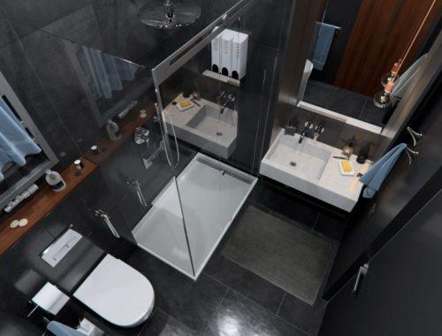 Minimalistisch modern badkamerontwerp voor een kleine badkamer
