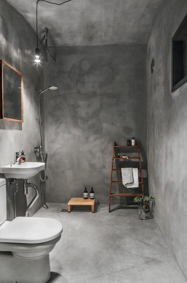 Minimalistische badkamers voorbeelden betonstuc