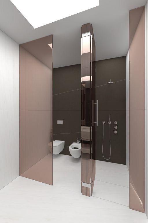 Minimalistische badkamers voorbeelden gekleurd glas