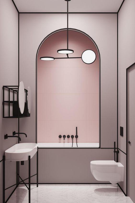 Minimalistische badkamers voorbeelden roze