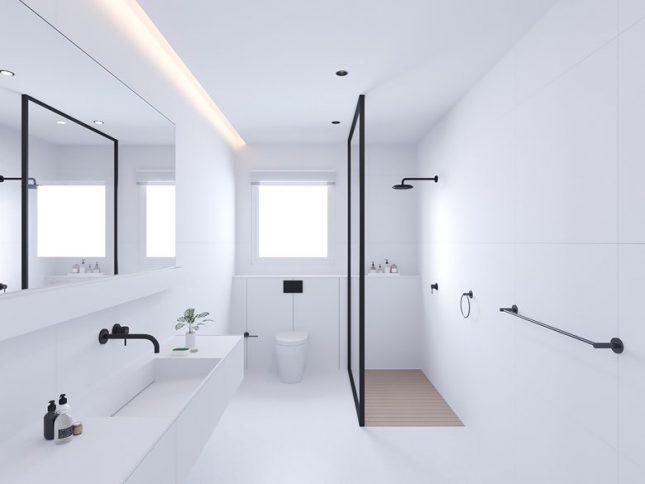 Minimalistische badkamers voorbeelden witte tegels