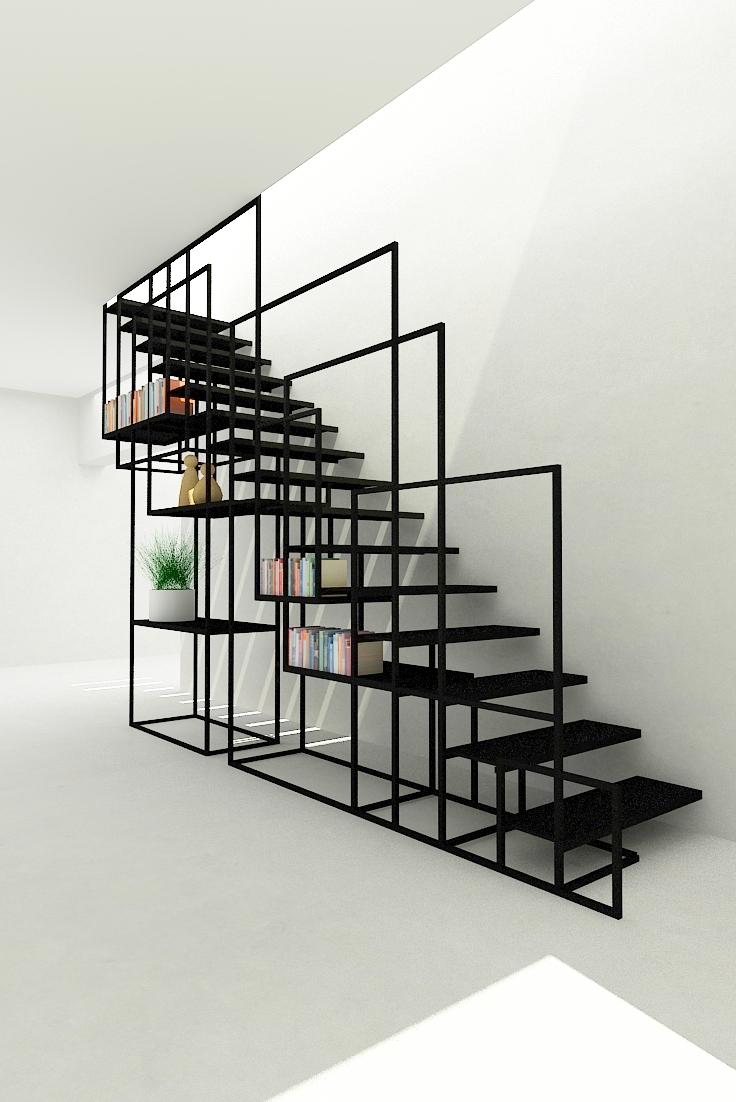 minimalistische stalen trap ontwerpinterieur inrichting