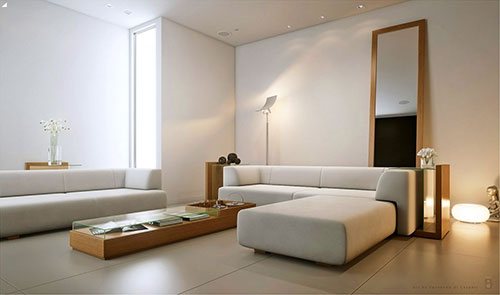 10 minimalistische woonkamers interieur inrichting for Warm white or cool white for living room