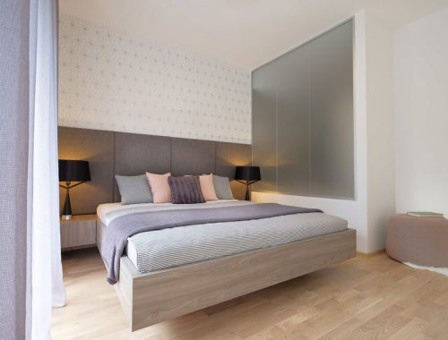 Modern slaapkamer suite ontwerp met open inloopkast en badkamer
