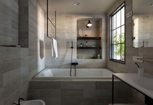 Moderne badkamer met industrieel tintje