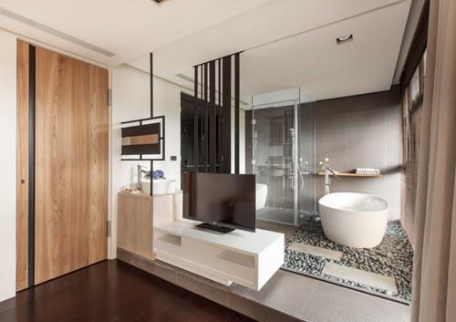 Moderne badkamer met zen gedeelte interieur inrichting - Kleine badkamer zen ...