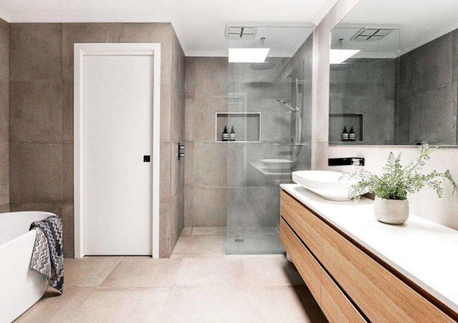 Moderne badkamers voorbeelden betonlook tegels